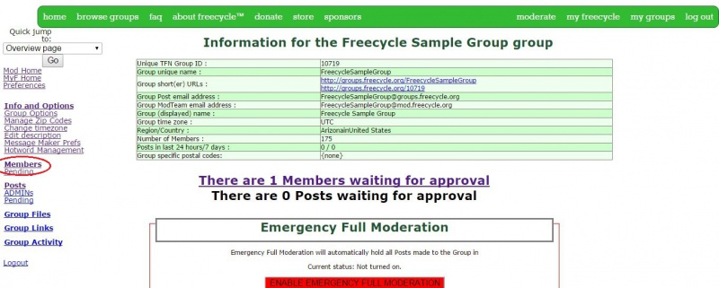 Info and Options page showing pending member
