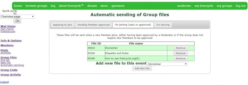 Sending group files automatically